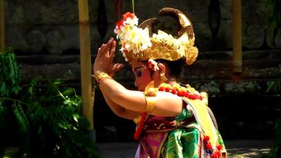 BALI: Beautiful dancer in the Barong dance performance in the Batubulan Village.