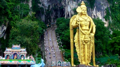 MALAYSIA: Entrance to the Batu Caves. Broke some sweat climbing these, let me tell you.