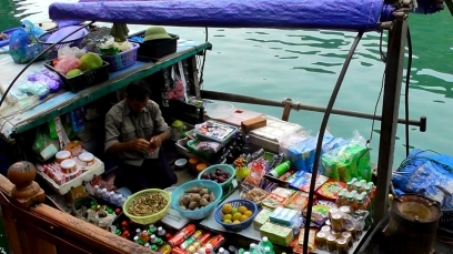 VIETNAM: The only way to shop in Halong Bay. Tesco delivery ain't got nothing on this guy!
