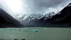NEW ZEALAND: Glacier lake at Mount Cook. Didn't quite fancy a dip...