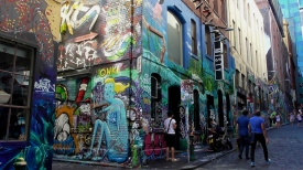 AUSTRALIA: Hosier Lane in Melbourne is known for its cool graffiti. You get 10 cool points just by walking down it.