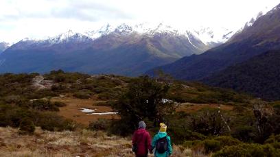 NEW ZEALAND: Hiking on the Routeburn Track. Naww, cute.