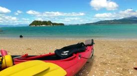 NEW ZEALAND: Kayaking in Abel Tasman National Park. We'd just got to Adele Island. Much singing was had.