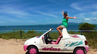 AUSTRALIA: Going all Barbie with this car rental in Magnetic Island.