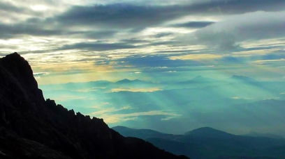 BORNEO: Our view from the top of Mount Kinabalu - Low's Peak. It wasn't very low at 13,435ft above sea level. Worth the sweat and the tears for this though!
