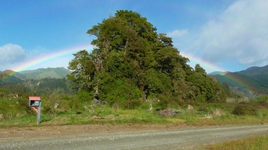 LAOS: Chasing the end of the rainbow in a tuk tuk.