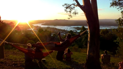 AUSTRALIA: Chilling in hammocks as the sun went down over Noosa. Rad.