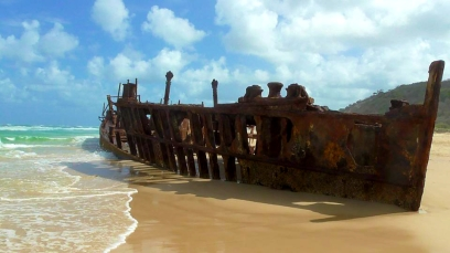 AUSTRALIA: The Maheno Shipwreck on Fraser Island. Hit by a cyclone in 1935. Pretty rusty these days.